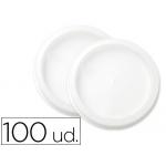 Tapa plástico plana para vaso 74,1 mm diámetro de paquete de 100