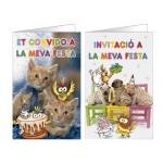 Tarjeta de invitación Arguval fantasía mascotas blister 8 unidades surtidas catalan