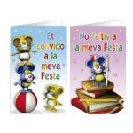 Tarjeta de invitación Arguval fantasía ratones blister 8 unidades surtidas catalan