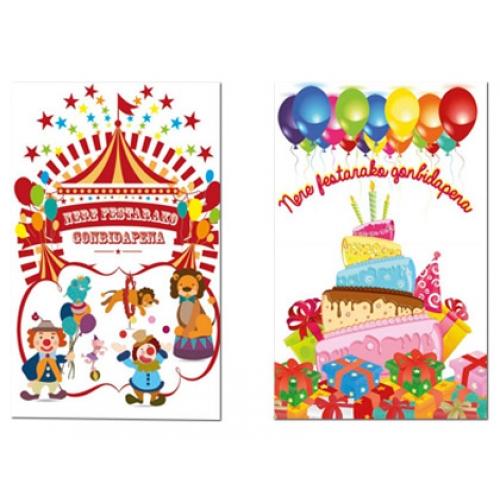 Tarjeta De Invitación Arguval Fiesta Color Infantil Bliste De 6 Unidades Euskera