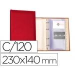 Tarjetero Autograph 4 anillas 20 fundas con índice alfabético para 120 tarjetas 230x140 mm color rojo