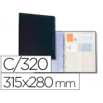 Tarjetero Autograph 4 anillas 20 fundas con índice alfabético para 320 tarjetas 315x280 mm color negro