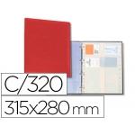 Tarjetero Autograph 4 anillas 20 fundas con índice alfabético para 320 tarjetas 315x280 mm color rojo