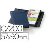 Tarjetero Duraclip visifix color azul 25 fundas para 200 tarjetas tamaño A4 incluye 12 separadores