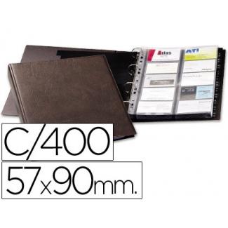Tarjetero Duraclip visifix color marron 20 fundas para 400 tarjetas tamaño A4 incluye 12 separadores
