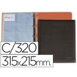 Tarjetero Pardo tamaño folio para 320 tarjetas simil-piel color negro