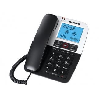 Teléfono Daewoo manos libres 4 teclas de memoria directa funcion rellamada color negro