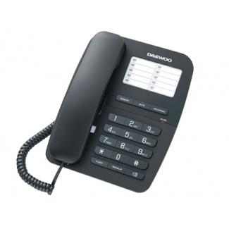 Teléfono Daewoo manos libres rellamada ultimo número transferencia de llamadas color negro