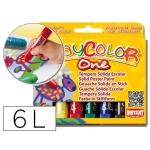 Tempera solida en barra Instant escolar caja de 6 colores surtidos