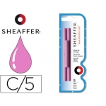 Tinta estilográfica Sheaffer color rosa blister 5 cartuchos