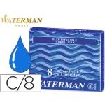Tinta estilográfica Waterman color azul florida caja de 8 cartuchos standard largos