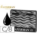 Tinta estilográfica Waterman negra caja de 8 cartuchos standard largos