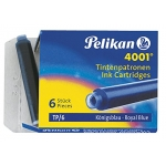 Tinta para plumas Pelikan color azul real caja de 6 cartuchos