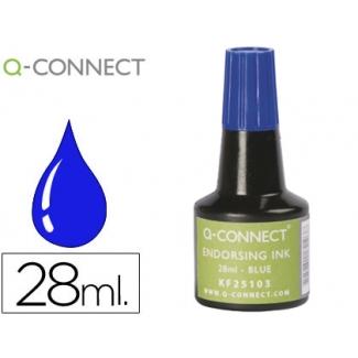 Q-Connect KF25103 - Tinta para tampón, frasco de 28 ml, color azul