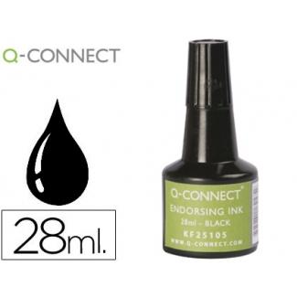 Q-Connect KF25105 - Tinta para tampón, frasco de 28 ml, color negro