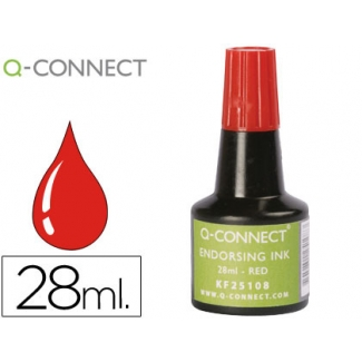 Q-Connect KF25108 - Tinta para tampón, frasco de 28 ml, color rojo