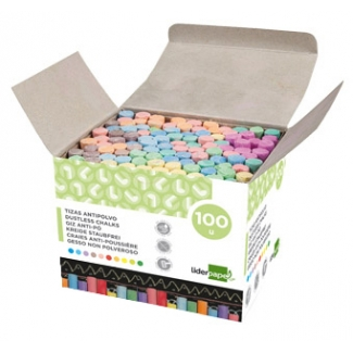 Tiza color antipolvo Liderpapel caja de 100 unidades colores surtidos