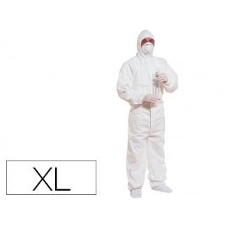 Traje de seguridad Deltaplus polipropileno con capucha de un solo uso color blanco talla xl