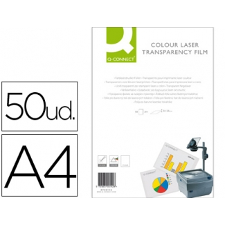 Transparencia Q-connect tamaño A4 de alta calidad para impresora laser color caja de 50