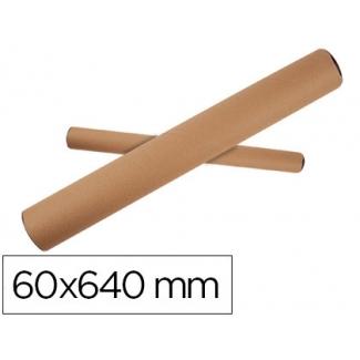 Q-Connect KF17772 - Tubo de cartón portadocumentos, tapa de plástico, medidas 60 x 640 mm