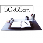 Vade sobremesa Q-connect color negro con solapas transparentes 50x65 cm