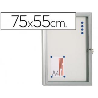 Vitrina de anuncio 75x55 para exterior com marco aluminio cerradura y puerta abatible