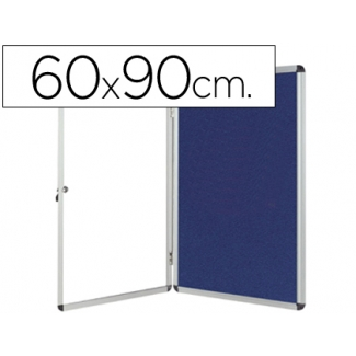Vitrina de anuncios Q-Connect mural pequeña fieltro color azul con puerta y marco con cerradura 72x98 cm
