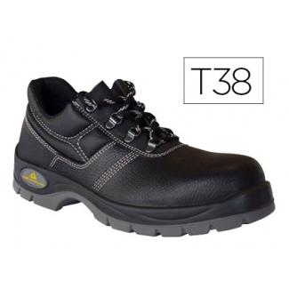 Zapatos de seguridad Deltaplus de piel crupon grabada con forro absorbente y plantilla de latex color negro talla 38