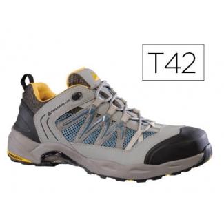 Zapatos de seguridad Deltaplus x-run de piel serraje nobuck puntera y suela composite gris-naranja talla 42