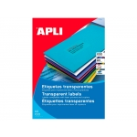 Apli 01223 - Etiquetas adhesivas, poliéster, resistente a la intemperie, transparentes, 48,5 x 25,4 mm, caja de 20 hojas