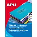 Apli 01224 - Etiquetas adhesivas, poliéster, resistente a la intemperie, transparentes, 70 x 37 mm, caja de 20 hojas
