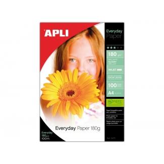 Apli 11475 - Papel fotográfico, brillo, tamaño A4, 180 gramos, paquete de 100 hojas