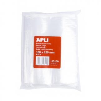Apli 13130 - Bolsas de plástico autocierre, 160 x 220 mm, paquete de 100 unidades
