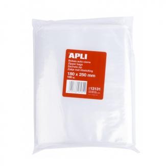 Apli 13131 - Bolsas de plástico autocierre, 180 x 250 mm, paquete de 100 unidades