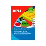 Apli 2880 - Etiquetas adhesivas, rojo, 210 x 297 mm, caja de 20 hojas