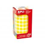 Apli 4851 - Gomets, figuras geométricas forma redonda, 10,5 mm de diámetro, rollo de 5192 unidades, color amarillo
