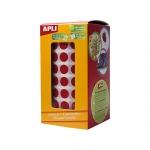 Apli 4853 - Gomets, figuras geométricas forma redonda, 10,5 mm de diámetro, rollo de 5192 unidades, color rojo