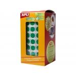 Apli 4854 - Gomets, figuras geométricas forma redonda, 10,5 mm de diámetro, rollo de 5192 unidades, color verde