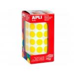 Apli 4855 - Gomets, figuras geométricas forma redonda, 15 mm de diámetro, rollo de 2832 unidades, color amarillo
