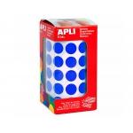 Apli 4856 - Gomets, figuras geométricas forma redonda, 15 mm de diámetro, rollo de 2832 unidades, color azul