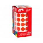 Apli 4857 - Gomets, figuras geométricas forma redonda, 15 mm de diámetro, rollo de 2832 unidades, color rojo
