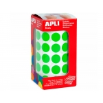 Apli 4858 - Gomets, figuras geométricas forma redonda, 15 mm de diámetro, rollo de 2832 unidades, color verde