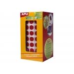 Apli 4861 - Gomets, figuras geométricas forma redonda, 20 mm de diámetro, rollo de 1770 unidades, color rojo