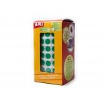 Apli 4862 - Gomets, figuras geométricas forma redonda, 20 mm de diámetro, rollo de 1770 unidades, color verde