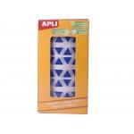 Apli 4868 - Gomets, figuras geométricas forma triangular, 20 x 20 x 20 mm, rollo de 2832 unidades, color azul