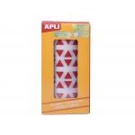 Apli 4869 - Gomets, figuras geométricas forma triangular, 20 x 20 x 20 mm, rollo de 2832 unidades, color rojo
