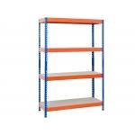 Ar Storage STABIL 100/60 - Estantería metálica, 100 x 200 x 60 cm, 4 estantes, 430 kg por estante, color azul/naranja