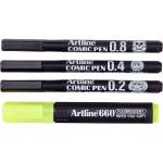 Artline Comic Pen EK-280/3W + 1 660 - Rotulador calibrado, pack de 3 (0,2, 0,4 y 0,8) + fluorescente, color negro