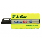 Artline ERT-MMC + EK157NE - Borrador para pizarra blanca, magnético, colores surtidos + rotulador artline Ek157 negro
