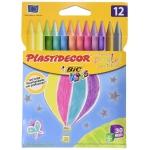 Bic Plastidecor 933961 - Ceras duras, caja de 12 colores